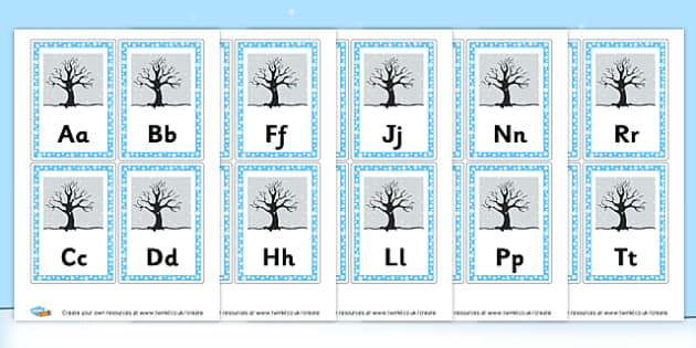 Winter Scene Alphabet Cards - Winter Display Primary Resources - The Seasons Winter Primary Res