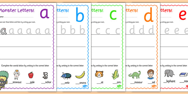 Themed Letter Formation Worksheets letter monster – Letter Formation Worksheets