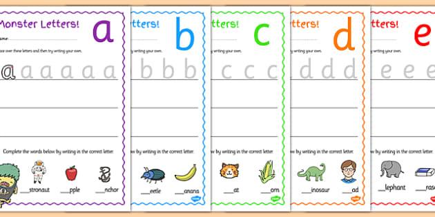Monster Themed Letter Formation Worksheets - letter, monster