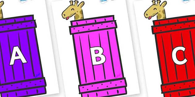 A-Z Alphabet on Giraffes (Crate) to Support Teaching on Dear Zoo - A-Z, A4, display, Alphabet frieze, Display letters, Letter posters, A-Z letters, Alphabet flashcards