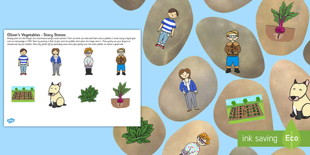 Story Stones Image Cut-Outs to Support Teaching on Oliver's Vegetables - story stone, image, cut outs