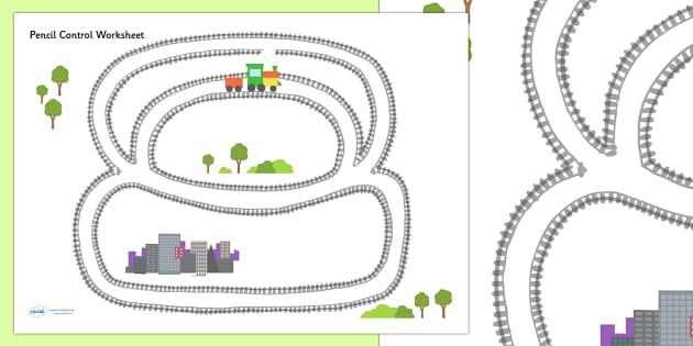Train Track Pencil Control Sheet - train, transport, motor skills