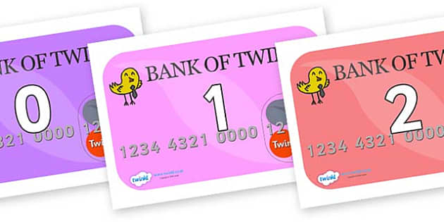 Numbers 0-31 on Debit Cards - 0-31, foundation stage numeracy, Number recognition, Number flashcards, counting, number frieze, Display numbers, number posters