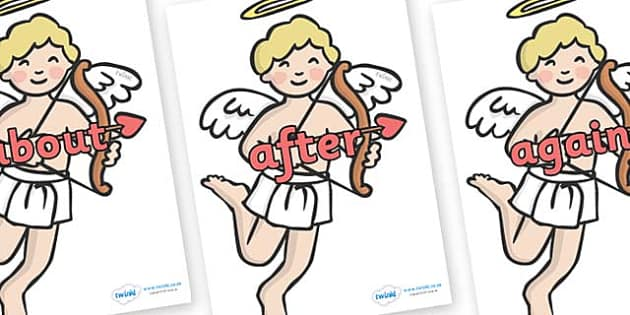KS1 Keywords on Cherubs - KS1, CLL, Communication language and literacy, Display, Key words, high frequency words, foundation stage literacy, DfES Letters and Sounds, Letters and Sounds, spelling