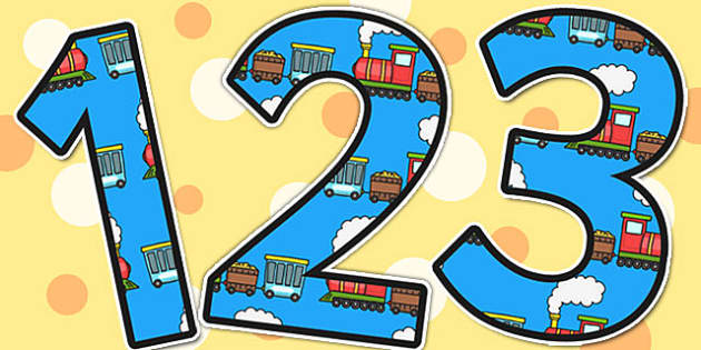 Trains Themed A4 Display Numbers - trains, display numbers, number
