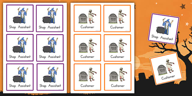 Halloween Fancy Dress Shop Role Play Badges - american, us, usa, early years, independent, work area, kindergarten, roles, jobs, labels, tags,