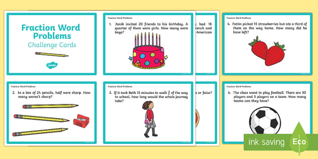 2 Fractions Word Problems Challenge Cards