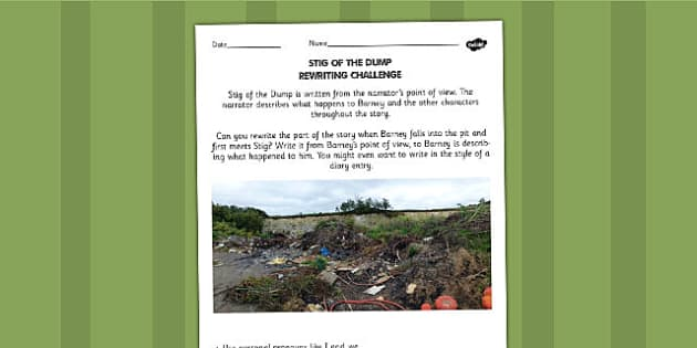 Stig of the Dump Rewriting Challenge Activity - activity, sheet