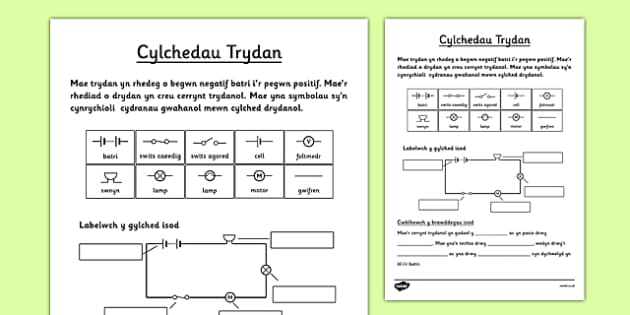 Cylchedau Trydan Welsh - welsh, electric, circuits, worksheet