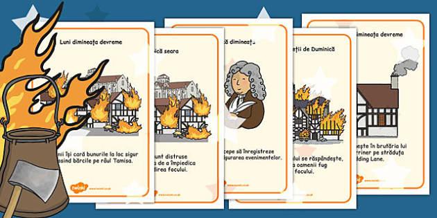 Marele Incendiu al Londrei - postere, planșe, vocabular, imagini, Romanian