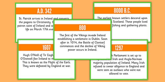 Basic Irish History Timeline Cards - basic, irish, history, timeline, cards, roi, irish, republic of ireland