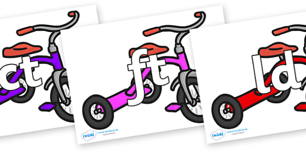 Final Letter Blends on Trikes - Final Letters, final letter, letter blend, letter blends, consonant, consonants, digraph, trigraph, literacy, alphabet, letters, foundation stage literacy