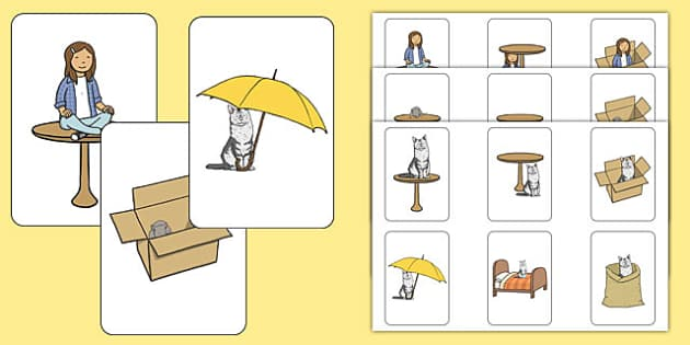 In, On and Under Preposition Cards - in, on, under, preposition, cards
