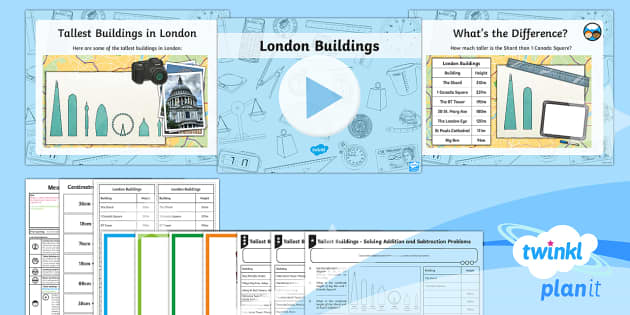 PlanIt Y3 Measurement Lesson Pack Length (6) - Measurement, measure, height, add, subtract, compare, difference, word problems, length, measure com