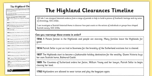 The Highland Clearances Timeline Worksheet - highland, clearances
