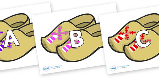 A-Z Alphabet on Wooden Shoes - A-Z, A4, display, Alphabet frieze, Display letters, Letter posters, A-Z letters, Alphabet flashcards