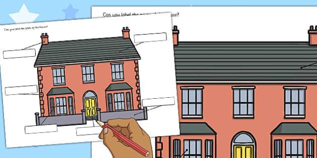 Label the House Worksheet - house, label, worksheet, sheet, work