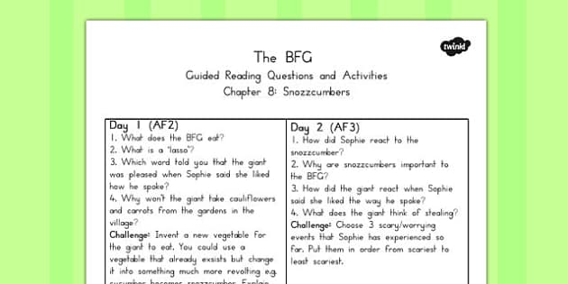 Guided Reading Questions Chapter 8 to Support Teaching on The BFG - australia, bfg, guided reading