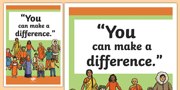 Make a Difference Inspirational Classroom Quote Display Poster - usa, america, inspirational quote, display, motivation, inspiration, make a difference