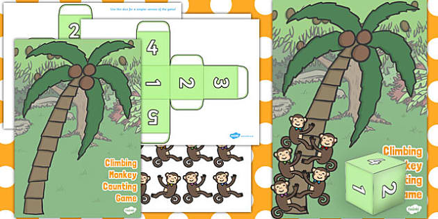 Climbing Monkey Counting Game Resource Pack - counting, game, resource