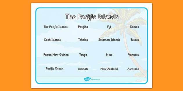 The Pacific Islands Word Mat