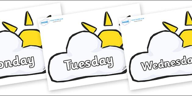 Days of the Week on Weather Symbols (Sun & Cloud) - Days of the Week, Weeks poster, week, display, poster, frieze, Days, Day, Monday, Tuesday, Wednesday, Thursday, Friday, Saturday, Sunday