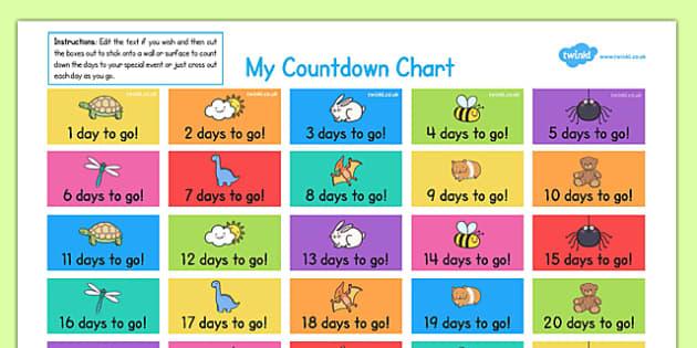 Countdown Chart - countdown chart, countdown, chart, count, down, activity, parents, home education