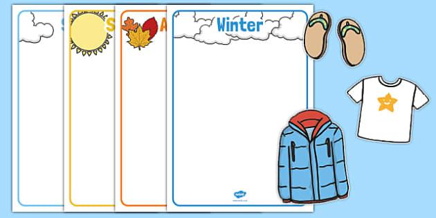 Seasonal Clothes Sorting Activity - seasonal clothes, sorting, activity, sort, season, clothes, sorting activity