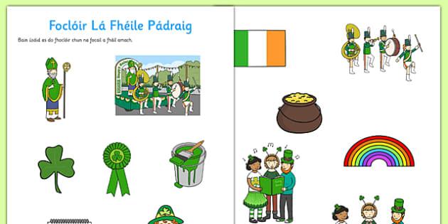 Foclóir Lá Fhéile Pádraig - gaeilge, Saint Patrick, Irish, vocabulary, Gaeilge, dictionary, worksheet