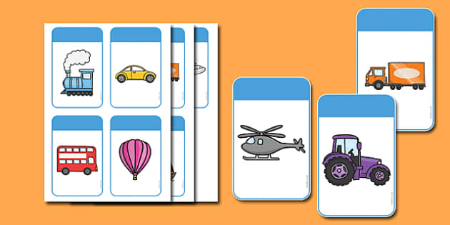 Transport Themed Colour Recognition Cards - transport, colour, recognition, cards