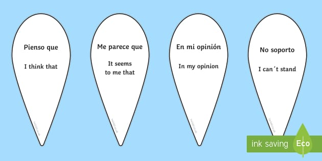 Opinion Phrases Fan Spanish Translation - spanish, opinion, phrases, fan, visual aid