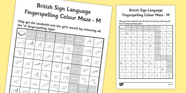 British Sign Language Fingerspelling Colour Maze M - colour, maze