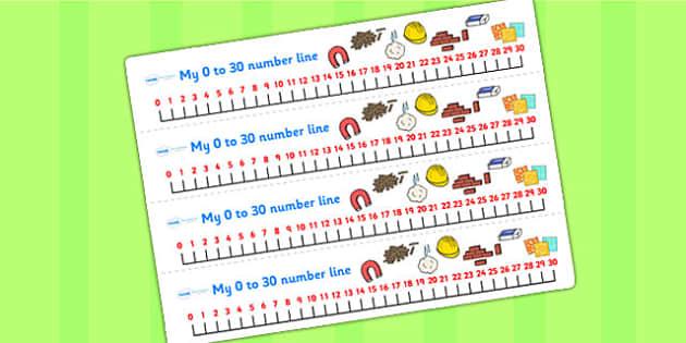 Materials Number Line 0 30 - materials, number line, number, 0-30