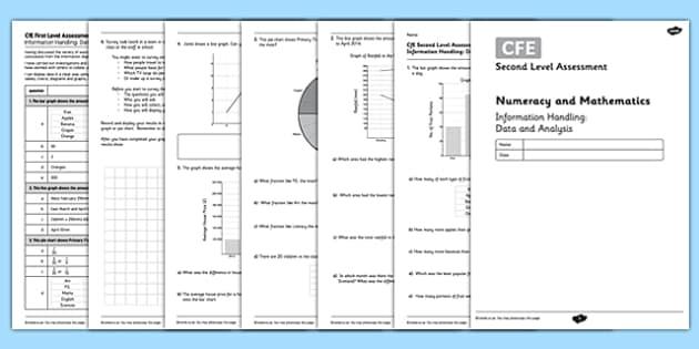 Second Level Assessment Numeracy and Mathematics Information Handling Data and Analysis - CfE, assessment, data handling, pie chart, line graph, bar chart, survey