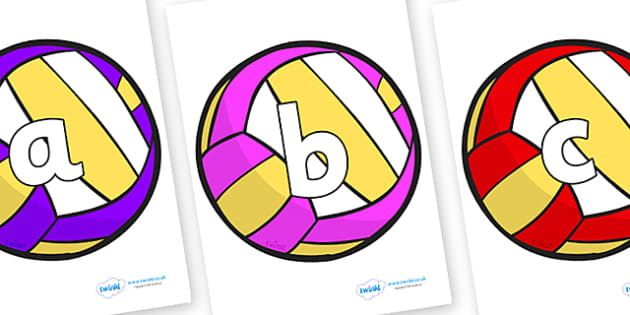 Phoneme Set on Volleyballs - Phoneme set, phonemes, phoneme, Letters and Sounds, DfES, display, Phase 1, Phase 2, Phase 3, Phase 5, Foundation, Literacy