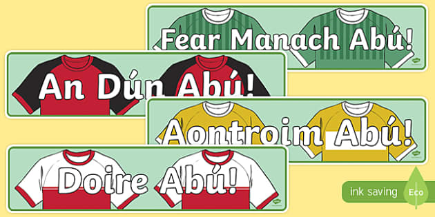 Irish Ulster Counties Abú GAA Display Banner-Irish