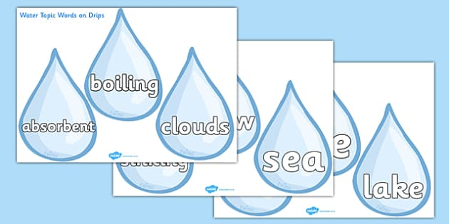 Water Topic Words on Drips - Water topic, splash, bubble, bubbles, area, drop, droplet, water play, water, water display, splash, drop, drip, wet, float, sink
