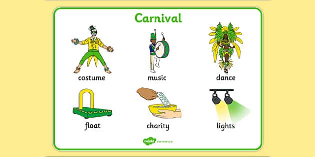 Carnival Word Mat - carnival, circus, word mat, writing aid, mat, costume, float, music, charity, lights