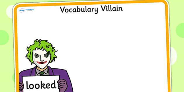 Editable Vocabulary Villain Looked Word Mat - word mat, editable word mat, emotions, vocabulary mat, editable vocabulary mat, mat of word, villian word mat