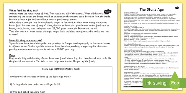 Stone Age Reading Comprehension Activity - worksheet, stone age