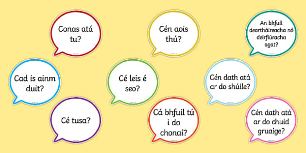 Useful Questions Speech Bubbles Gaeilge - useful questions, speech bubbles, gaeilge, irish