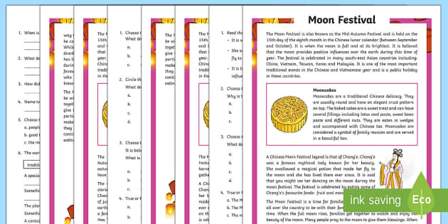 Moon Festival Differentiated Reading Comprehension Activity-Australia - Moon Festival, south east asia, festivals and celebrations, China, Vietnam, mid autumn festival,Aust