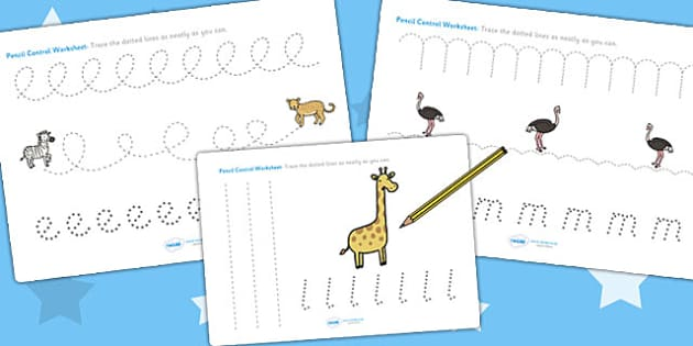 Safari Themed Pencil Control Path Worksheets - fine motor skills