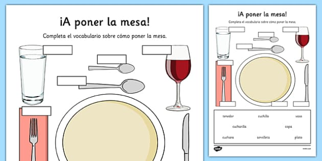 Ficha A poner la mesa Vocabulario - spanish, setting the table, poner la mesa, vocabulario, plato, cuchillo, tenedor, fork, knife, plate, worksheet, restaurante, restaurant