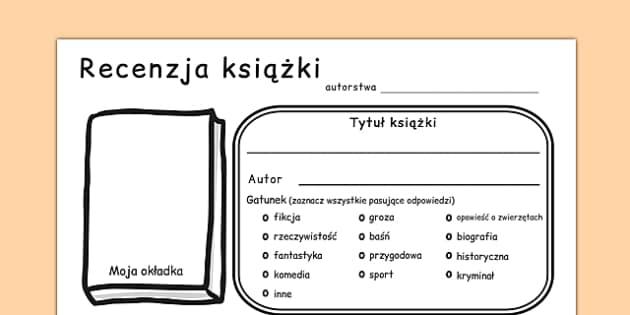 Arkusz Recenzja książki po polsku - lektura