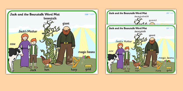 Jack and the Beanstalk Scene Word Mat - jack and the beanstalk,  vocabulary, word mat, key words, topic words, word poster, vocabulary poster, themed mat