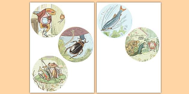 Beatrix Potter - The Tale of Mr Jeremy Fisher Stick Puppets - beatrix potter, mr jeremy fisher
