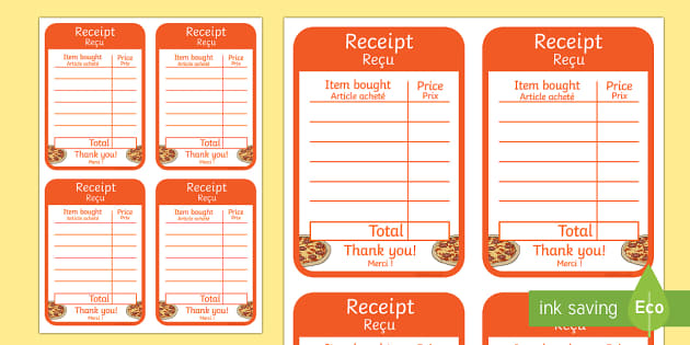 Pizza parlour role play receipt English-French-translation - Pizza Parlour Role Play, pizza, pizzas, eating, dinner, food, take, out, away, dining, hut, express, - Pizza Parlour Role Play, pizza, pizzas, eating, dinner, food, take, out, away, dining,