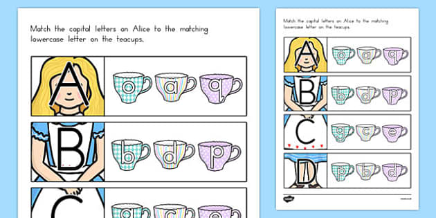 Alice in Wonderland Themed Capital Letter Matching Activity - australia