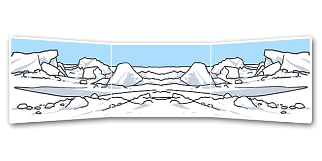 Small World Background (Arctic) - Small World, backdrop, background, scenery, small world area, small world display, small world resources, fox, hare, polar bear, whale, penguin, huskey, snow, winter, frost, cold, ice, hat, gloves